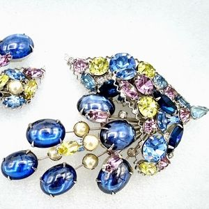VTG Alice Caviness Rhinestone Brooch Earrings Set